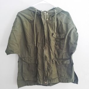 F21 Green Cargo Jacket Short Sleeves